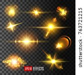 golden star light flashes and... | Shutterstock .eps vector #763721215