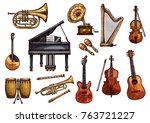 musical instruments sketch... | Shutterstock .eps vector #763721227