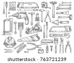 house repair work tools sketch... | Shutterstock .eps vector #763721239