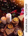 christmas decorations and... | Shutterstock . vector #763723429