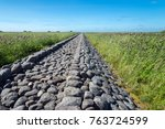 old stone mole  ainazi  latvia  ... | Shutterstock . vector #763724599