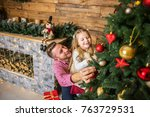christmas eve  dad and daughter ... | Shutterstock . vector #763729531