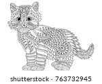 cute kitty. hand drawn picture. ... | Shutterstock .eps vector #763732945