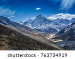 Small photo of Snow mountain peaks on Ama Dablam. Panoramic view of Himalaya mountain. Way to Everest base camp, Khumbu valley, Sagarmatha national park.