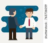 businessmen shaking hands.... | Shutterstock .eps vector #763736059