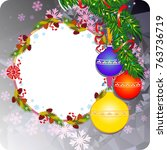 winter holiday background with... | Shutterstock .eps vector #763736719
