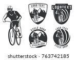 set of bicycle logo  emblems... | Shutterstock .eps vector #763742185