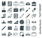 set of 36 school filled and... | Shutterstock .eps vector #763748089