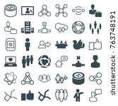 set of 36 social filled and... | Shutterstock .eps vector #763748191