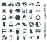 set of 36 summer filled icons... | Shutterstock .eps vector #763749625