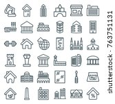 set of 36 building outline... | Shutterstock .eps vector #763751131