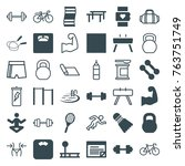 set of 36 fitness filled and... | Shutterstock .eps vector #763751749