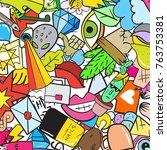 graffiti pattern with urban... | Shutterstock . vector #763753381