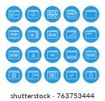 set of 48x48 minimal browser ... | Shutterstock . vector #763753444