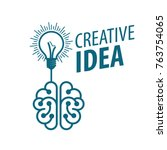 vector brain logo | Shutterstock .eps vector #763754065