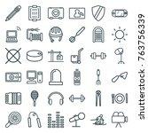 set of 36 equipment outline... | Shutterstock .eps vector #763756339