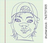 rude girl with broken nose.... | Shutterstock .eps vector #763757305
