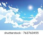vector blue sky clouds. anime... | Shutterstock .eps vector #763763455