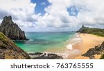 panoramic view of morro dois...   Shutterstock . vector #763765555