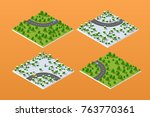 set of isometric modules for... | Shutterstock .eps vector #763770361