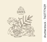 background with date fruit ... | Shutterstock .eps vector #763777429