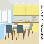 interior of kitchen with yellow ... | Shutterstock .eps vector #763777744