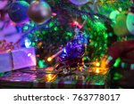 christmas scene with tree gifts ... | Shutterstock . vector #763778017