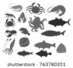seafood silhouette set | Shutterstock .eps vector #763780351