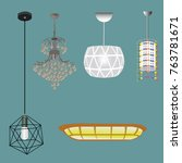 hanging lamp collection | Shutterstock .eps vector #763781671