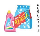 vector cartoon washing powder ... | Shutterstock .eps vector #763786951