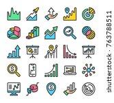 graph and diagram icons set.... | Shutterstock .eps vector #763788511