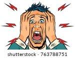 screaming man isolated on white ... | Shutterstock .eps vector #763788751