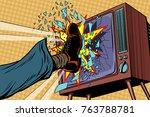 leg breaks tv  concept fake... | Shutterstock .eps vector #763788781