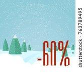 winter sale   beautiful forest  ... | Shutterstock .eps vector #763789495