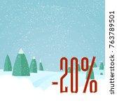 winter sale   beautiful forest  ... | Shutterstock .eps vector #763789501