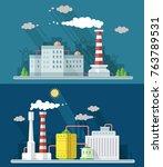 set digital vector blue factory ... | Shutterstock .eps vector #763789531