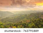 tea plantation at doi mae... | Shutterstock . vector #763791889