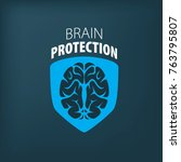 vector brain logo   Shutterstock .eps vector #763795807