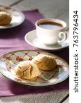 delicious tahini cookies on a...   Shutterstock . vector #763796434