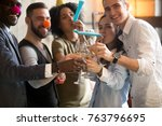 multiracial young people in... | Shutterstock . vector #763796695