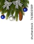 christmas background. top view... | Shutterstock . vector #763803589