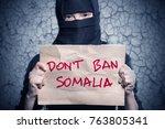 muslim girl in black hijab... | Shutterstock . vector #763805341