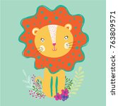 print with cute lion. can be... | Shutterstock .eps vector #763809571