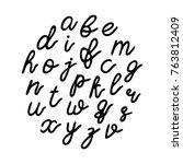 lowercase black hand drawn... | Shutterstock .eps vector #763812409
