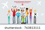 group of people angry with... | Shutterstock .eps vector #763813111