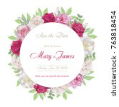 wedding invitation cards with... | Shutterstock .eps vector #763818454