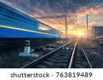 high speed passenger train in... | Shutterstock . vector #763819489