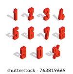 3d red metallic isometric... | Shutterstock .eps vector #763819669