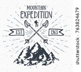 mountain expedition vintage... | Shutterstock . vector #763824679