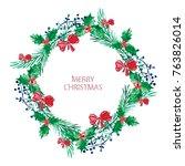 elegant christmas wreath with... | Shutterstock .eps vector #763826014